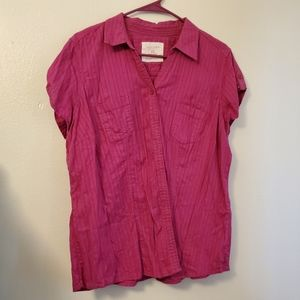Sonoma cotton pink shirt top button up